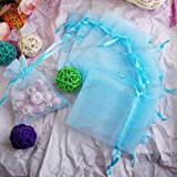 100pcs Sky Blue Organza Drawstring Pouches Jewelry Party Wedding Favor Gift Bags 2.4″x3.0″