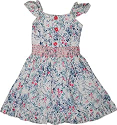 Mathudi Girls' Frock (8065-pink_8-10 yrs, White & Pink, 8-10 Years)