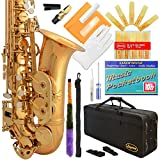 360-LQ - Gold/Lacquer Eb E Flat Alto Saxophone Sax Lazarro+11 Reeds,Music Pocketbook,Case,Care Kit - 24 Colors with Silver or Gold Keys