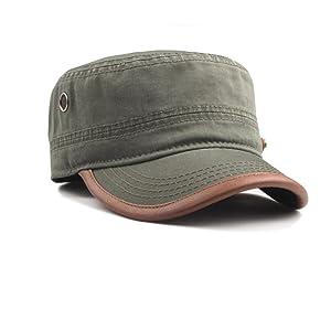 CACUSS Men s Cotton Army Cap Cadet Hat Military Flat Top Adjustable  Baseball Cap(Olive Green) d3827c31f353