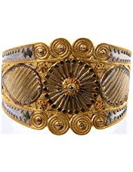 Exotic India Sterling Gold Plated Cuff Bracelet - Sterling Silver