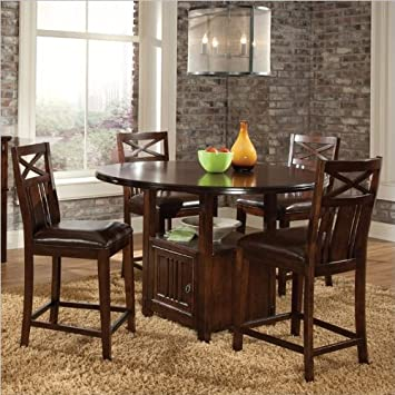 Standard Furniture Sonoma 5 Piece Counter Height Dining Set in Warm Oak
