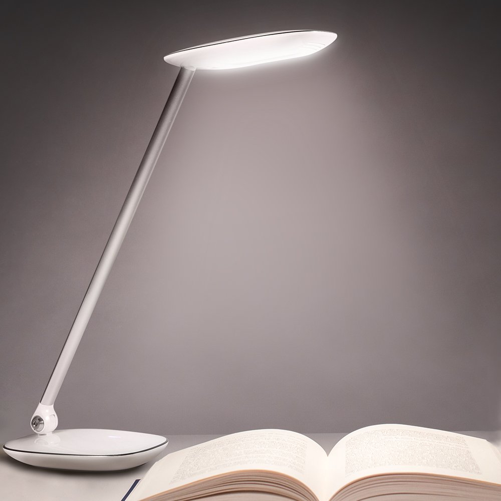 AVANTEK LED Desk Lamp Foldable Dimmable Eye-Caring Touch Light with 3-Level Dimmer, USB Charging Port and Touch-Sensitive Control Panel, 10W, Cool White