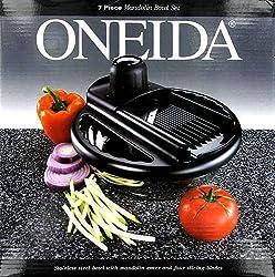 Oneida 7-Piece Mandolin Slicing Bowl, Stainless Steel/Black