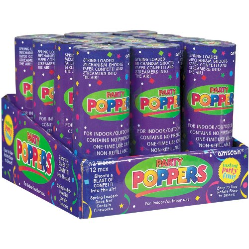 Great Features Of Confetti Poppers Party Accessory (1 ct.,12 pieces per ct.)