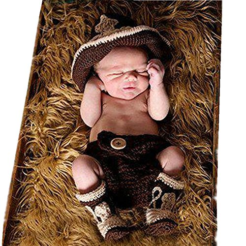 Fasion Cute Newborn Baby Boy Girl Costume Outfits Photography Props Cowboy Hat Pant