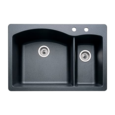 Blanco 440199-2 Diamond 2-Hole Double-Basin Drop-In or Undermount Granite Kitchen Sink, Anthracite