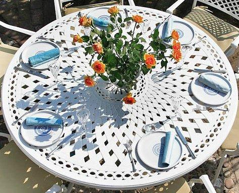 Weißer Frances 150cm Rundes Gartenmöbelset Aluminium - 1 Weißer FRANCES Tisch + 6 Weiße ROSE Stühle