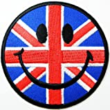 Aufnäher Smiley Happy Face Patches (Union Jack Flag) Patches Embroidered Iron on Patch