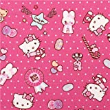 Pink dotted Hello Kitty oxford fabric candy by Sanrio from Japan (per 0.5m multiples)
