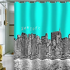 DENY Designs Bird Ave New York Aqua Shower Curtain, 69 by 72-Inch