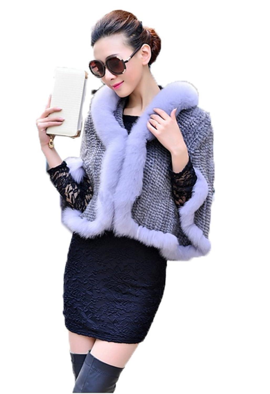 YRLOVE Mode Damen Echter Gestricktes Nerz Pelz Stahl Kap Poncho Mantel & Fuchs Pelz Halsband jetzt kaufen