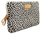 KAYOND White Leopard's Spots Canvas Fabric 10-10.1 Inch Netbook / Laptop / Notebook Computer Sleeve Case Bag Cover