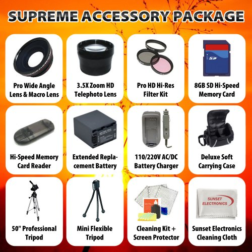 Supreme Accessory Package For The Canon VIXIA HF S20 VIXIA HF S200 HF S21 HF S100 Package Includes Extended Life Replacement BP-819 Battery, Rapid 110/220V Home & Car Charger, 8GB Hi Speed Error Free Memory, Professional Wide Angle lens With Macro Lens, P