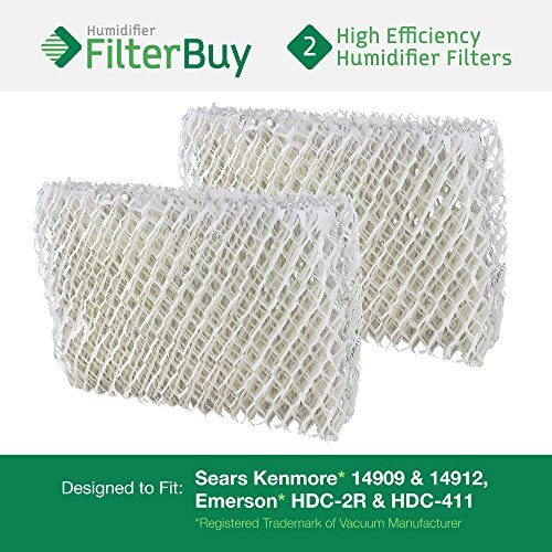 Emerson HDC-2R & HDC-411, Sears Kenmore 14909 & 14912 Humidifier Wick Filter. Designed by FilterBuy. Pack of 2 Filters.
