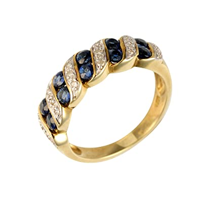 Ivy Gems 9ct Yellow Gold Light Sapphire and Diamond Half Eternity Ring