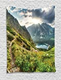Ambesonne Apartment Decor Collection, Mountain by the Lake with Fairy Dark Cloudy Sky Spring Dream Spot on Earth Photo, Bedroom Living Room Dorm Wall Hanging Tapestry, Green White Blue