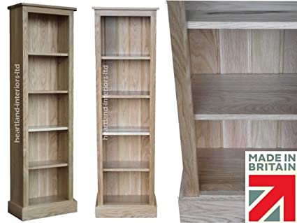 Heartland Oak 100% Solid Oak Bookcase; 5ft Tall Slim Jim Adjustable Display Oak Shelving Unit, Bookshelves. No flat packs, No assembly (BKOAK14)
