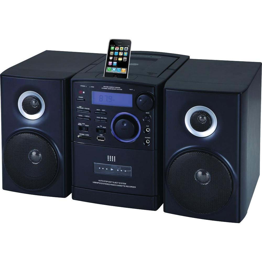 supersonic mp3 cd cassette player audio stereo system usb sd aux with ipod dock ebay. Black Bedroom Furniture Sets. Home Design Ideas