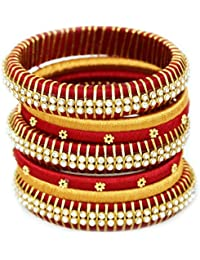 Yathnics Party Wear Maroon & Gold Color Silk Thread Bangles Set For Women And Girls (Set Of 7)