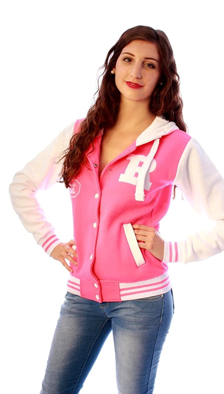 Damen Sweatjacke in vielen Farben College Jacke Fox 61 Baseball Sweat Jacke mit Kapuze online kaufen