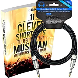 Guitar Cable - The Best Premium Instrument Cord - 10 ft Music Amp Cable for Electric Guitar & Bass - Today Get 100% Money Guarantee - #1 Innovative Amplifier Plug Accessories - Extra Ebook Included