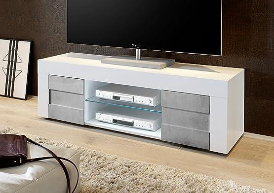 Mobile TV 2 Porte 2 Nicchie con Ripiano 138x42x44cm Sodani Build Bianco Lucido e Cemento