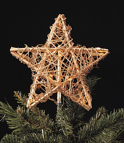 Gold Rattan 3-Dimensional Star Christmas Tree