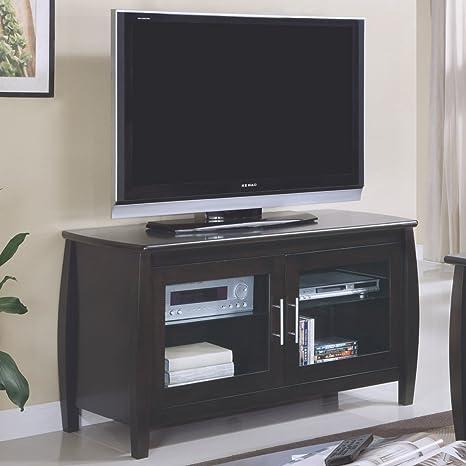 Monarch Specialties Veneer TV Console, 48-Inch, Dark Walnut