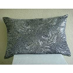 Silver Touch - Decorative Pillow Covers - Rectangle Silk Pillow Cover with Sequins