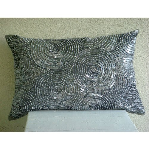 Silver Touch - 12X16 Inches Rectangle/Lumbar Decorative Throw Silver Silk Pillow Covers With Sequins front-907122