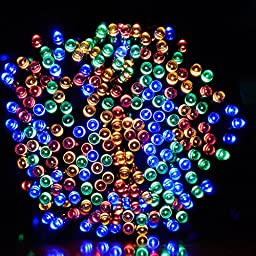 Dephen Solar LED String Lights Christmas Lights 39ft 100 LED 8 Modes Fairy Starry waterproof Ambiance Lighting for Outdoor Patio Lawn Landscape Fairy Garden Home Wedding Holiday(Multicolour)