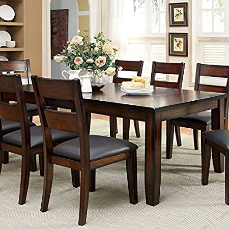 Rivington Transitional Style Dark Cherry Finish 7-Piece Dining Table Set