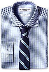 Nick Graham Everywhere Men's Nick Graham Men's Check Dress Shirt with Tie, Blue Check, 15.5