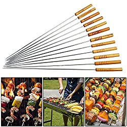Xinwan Wooden Handle Barbecue BBQ Skewer Set 16 Inch - 12 Pcs