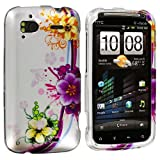 Purple Flower Chain Design Crystal Hard Skin Case Cover New for HTC Sensation 4G / Pyramid - Electromaster(TM) Brand