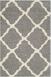 Blissful Shag Area Rug, 3\'x5\', GREY IVORY