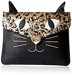Betsey Johnson Cray Creatures Meow Clutch, Black, One Size