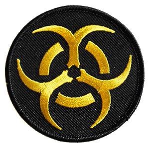 Ecusson brodé thermocollant patch nucleaire radioactif radioactivité nuclear biker moto 7,5cm