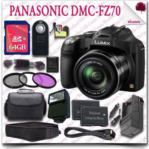 Panasonic Lumix Dmc-Fz70 Digital Camera + Wireless Remote + 64Gb Sdhc Class 10 Card + Slr Gadget Bag + 3Pc Filter Kit + External Slave Flash + Neoprene Neck Strap + Hdmi Cable 18Pc Panasonic Saver Bundle