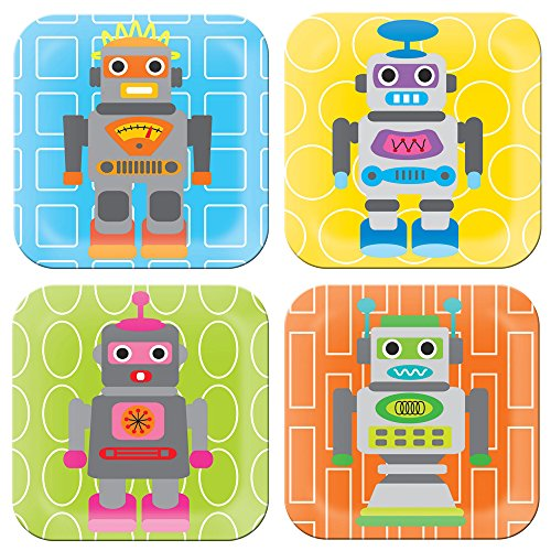 French Bull Robot 8 Inch Kids Plate, Set of 4