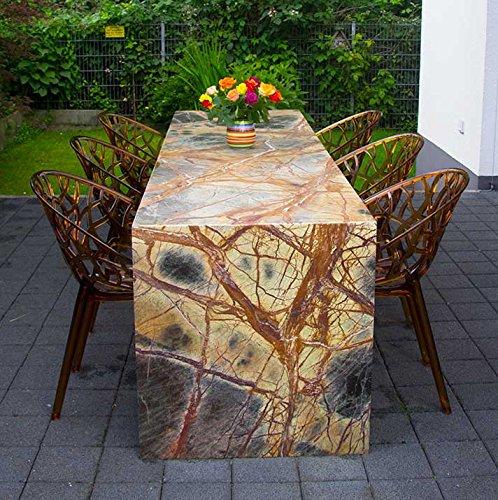 Gro er naturstein tisch aus sehr seltenem rainforest brown for Naturstein tisch
