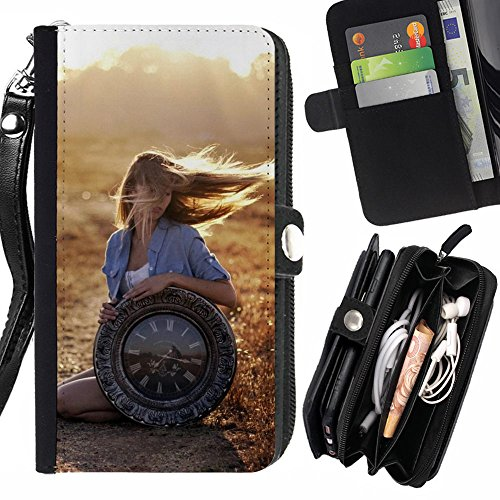 Peach Tech Portafoglio in pelle della Carta di Credito fessure PU Holster Cover in pelle case Huawei P9+ Plus (Not for P9) / Sunset Flying Beauty Blonde Vintage Clock
