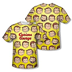 Curious George Faces All Over Print Front / Back T-Shirt