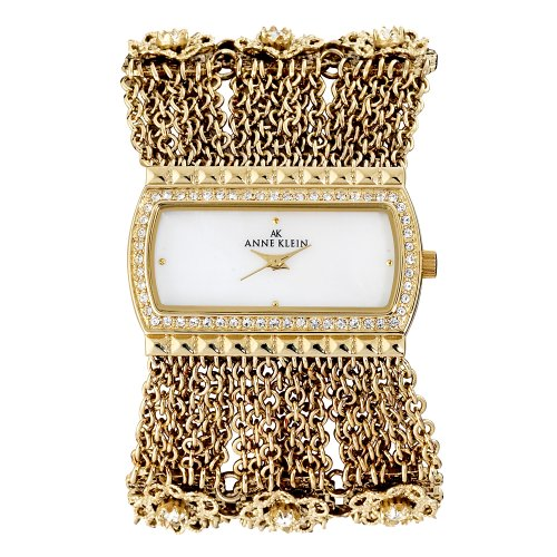 AK Anne Klein Women's 109236MPGB Swarovski Crystal Accented Gold-Tone Chain Bracelet Watch