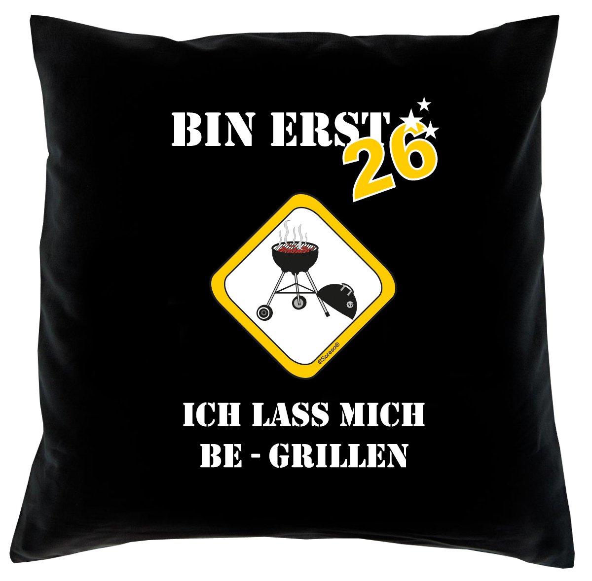26. Geburtstag Kissen, Sitzkissen, Sofakissen, Dekokissen Bin erst 26! Farbe: Schwarz komplett mit Füllung 40x40cm Größe: 40x40cm
