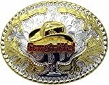 Cow Girl up Silver and Gold Oval Belt Buckle