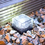White LED Solar Powered Garden Glass Path Light by Lights4funby Lights4fun