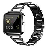 Watchband for Fitbit Blaze, Joberry Stainless Steel Smart Watch Replacement Bands with Frame Holder (Black) (Color: Black)