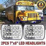 1 Pair 7x6 Inch Rectangular LED Headlights Conversion for International 3800 School Bus 1990-2004 Sealed Beam Headlamp Replacement H6014 H6052 H6054 6054 1 Pair